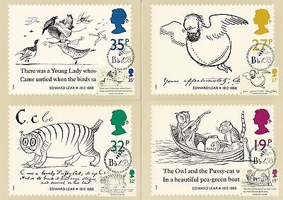 Edward Lear writer Painter 1988 Great Britain 4 PHQ Cards (Stamps on Front)