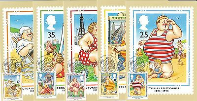 Pictorial Postcards 1994 Great Britain 5 PHQ Cards (Stamps on Front)
