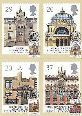Europa Cept & Glasgow 1990 Great Britain 4 PHQ Cards (Stamps on Front)