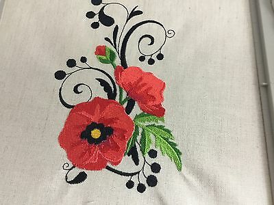 Embroidery Quilt Block Panel/Cushion Front Made With Irish Linen Poppy