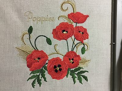 Embroidery Quilt Block/Cushion Front Made With Irish Linen - Poppies