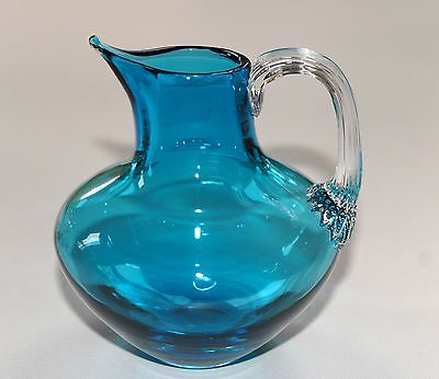 Vintage Art Glass Jug, Applied Clear Handle Ribbed Handle