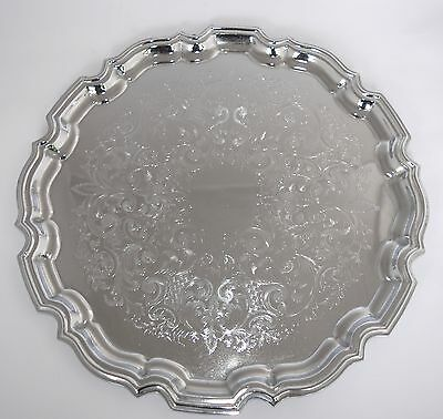Large English Silver Plate Etched Tray - Scalloped Edge - 36.5cm