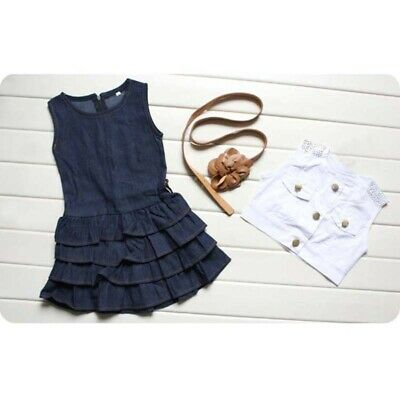 2Pcs Baby Kids Girls Sleeveless Vest Tops + Skirt Tutu Dress Casual Clothes Set