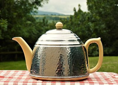 VINTAGE1940s YELLOW POTTERY  & CHROME INSULATED TEAPOT RETRO SHABBY CHIC KITCHEN
