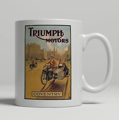 Triumph motorcycle sidecar vintage advert poster new mug print more in my shop
