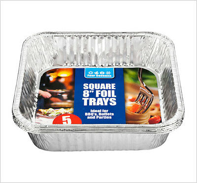 "5 Pack Square 8"" Aluminium Foil Tin Pan Tray Dish Bake Oven Cook BBQ Buffet"