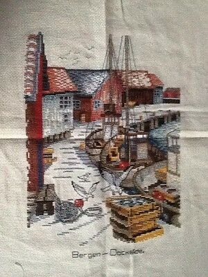 Completed Cross Stitch - Bergen Dockside