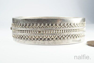 ANTIQUE ENGLISH LATE VICTORIAN STERLING SILVER GOTHIC BANGLE / BRACELET c1883
