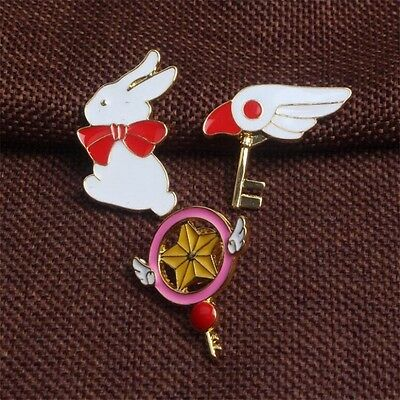 3pcs Card Captor Sakura Badge Magic Star Wings Metall Anhänger Pin Cosplay Set