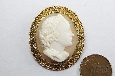 ANTIQUE VICTORIAN 15K GOLD FINELY HAND CARVED SHELL CAMEO BROOCH c1880