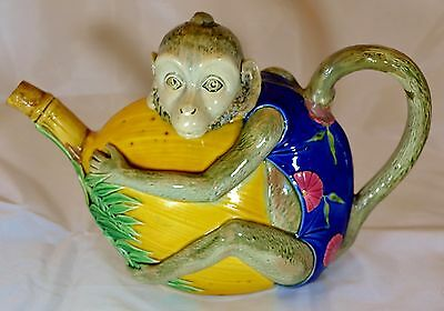 A Rare Minton Majolica Monkey Holding a Coconut Novelty Teapot 1844 Pattern 1875