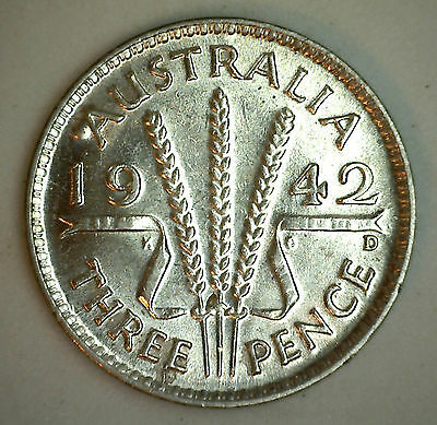 1942 D Silver Australia Three Pence 3 Pence Coin UNC