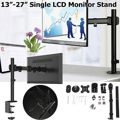"13-27"" Single LCD LED Monitor Stand Desk Mount 38cm Arm Tilt Swivel Rotate VESA"
