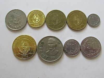 Lot of 9 Different Uruguay Coins - 1980 to 2014 - Circulated & Brilliant Unc.