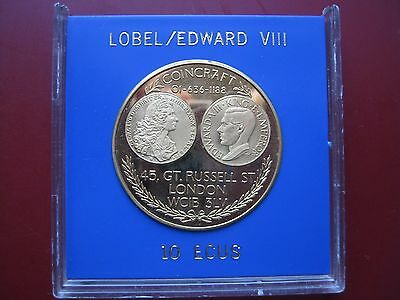 UK Lobel King Edward VIII Pattern Retro Crown Coin Proof Valued 10 ECU cased