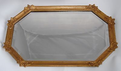 Vintage Bevilled Edge Hanging Wall Mirror - Gilt Wooden Frame - 56.5cm x 35.7cm
