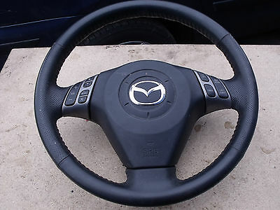 2006 Mazda 3 Sport STEERING WHEEL Leather Multifunction Cruise Control Black