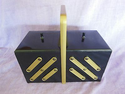 Vintage Small Black & Gold Plastic Accordian Sewing Basket Caddy Box Expanding