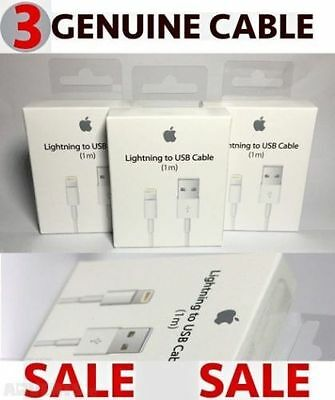 3X 100% Genuine Apple Lightning USB Sync Charger Data Cable For iPhone 5 5S 5C 6