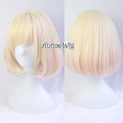 NEW Anime Miracle Nikki 35cm Blonde Short Cosplay Daily Wig + Wig Cap