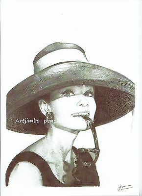 Audrey Hepburn A4 pencil drawing print limited edition signed UK artist wall art