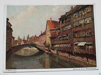 WW2 German Art Postcard Nuremberg Canal Painting with Rally Post Cancellation