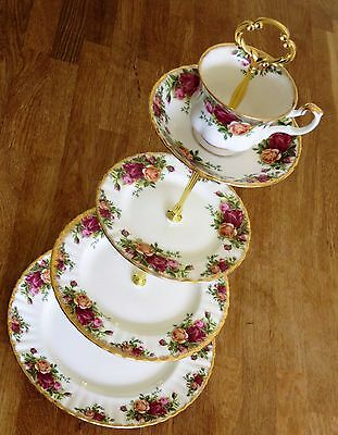 Royal Albert Old Country roses 4 tiered cake stand teacup topper