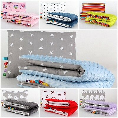 set MINKY/Y BABY BLANKET + PILLOW SOFT COSY REVERSIBLE FLUFFY FOR CRIB PRAM