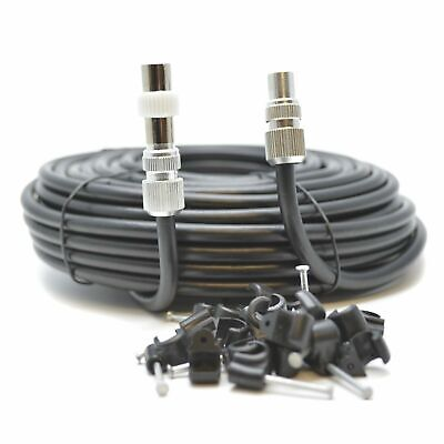 New 15m Black RG6 Aerial Coax Cable Coaxial Lead 4 Free view Magic Eye Tv Link