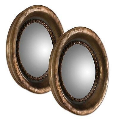 Old World French Tuscan Round Convex Wall Mirror Oxidized Copper Finish ~ Set/2
