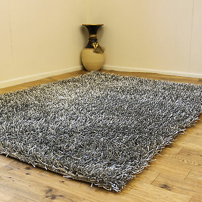Silver Grey Small Large Modern Sparkle Rug - Thick 3Cm High Pile Non-Shed Shaggy