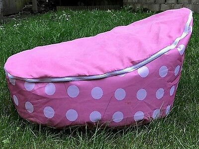 Baby Bean Bag - Unfilled With 2 Removable Covers & Harness - Pink & White Spots