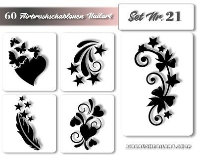 Airbrush Schablonen Nailart - Nail Art Air-brush Stencils - Naildesign im Set