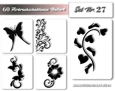 Airbrushschablonen Nailart - Nail Art Air-brush Stencils - Naildesign im Set