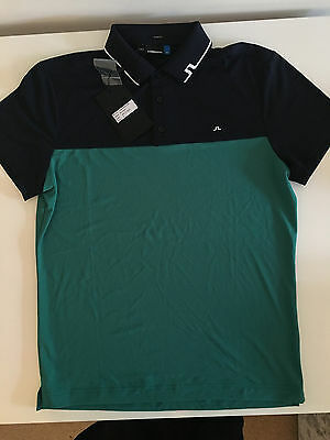 J LINDEBERG Johan SHIRT Green & Navy Medium brand new unworn