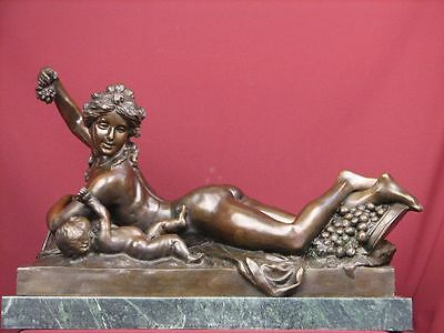 Signed Bronze Sculpture Mythology Nude Bacchante Limited Edition  Statue Rare