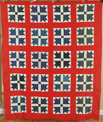 1890's Red, White & Blue Goose Tracks / Crow's Feet Antique Patchwork Quilt Top!