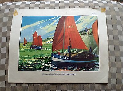 Vintage Macmillan School Poster The Fishermen People Who Work For Us 1950's