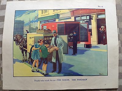 Vintage Macmillan School Poster Postman And Baker People Who Work For Us 1950's