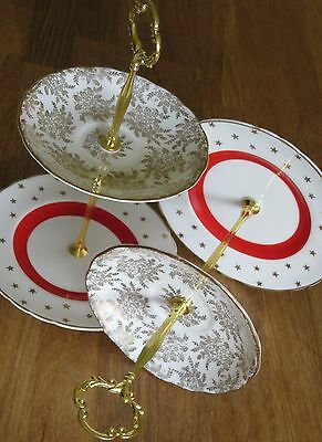 Pair of  mini 2 tiered cake stand Red White Gold Chintz cakestand teaparty