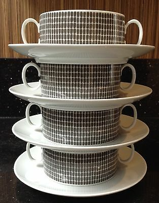 Vintage Retro Thomas Germany Porcelain Onyx Grey Twin Handle Soup Cup & Saucer