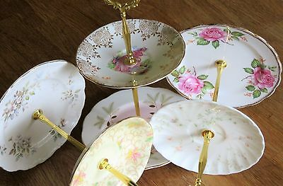 3 x 2 tiered cake stand Pastel pink blue yellow Pretty bone china mismatched