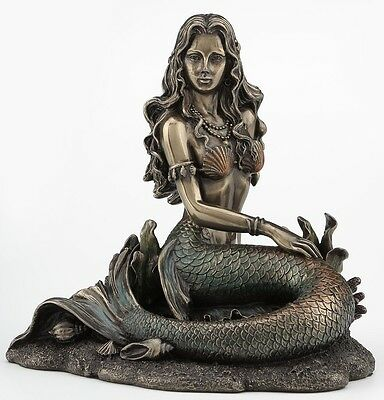 Mermaid Sitting On Beach Sculpture Statue Figure - Bronze Finish