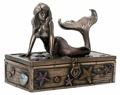 Mermaid on Treasure Box Statue Nautical Sculpture HOME DECOR