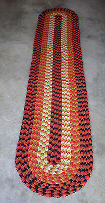 """Vtg Braided Wool Rug Americana Cottage Country Laundry Hall Runner 21"""" X 105 """""""