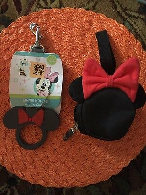 NEW Disney Minnie Mouse Stroller Clips & Change Pouch/ Purse - Red Bow