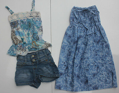 Girls Mixed Clothing Lot 3 Size XS 6-7 Justice Tank Top Jean Shorts Halter Dress