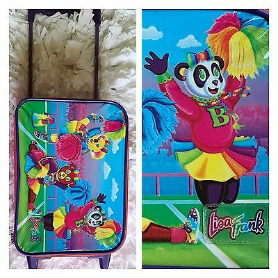 Vintage 90s Lisa Frank Luggage Bag w Wheels / Carry Case suitcase travel