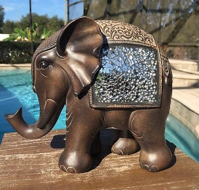 NEW Brown Mosaic TRUNK UP ELEPHANT STATUE Feng Shui Summer Home Decor Good Luck